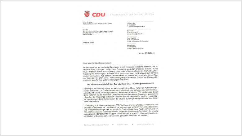 Flüchtlingsunterbringung: offener Brief